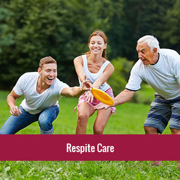 Young man and woman playing frisbee with and elderly man | Respite Care Services