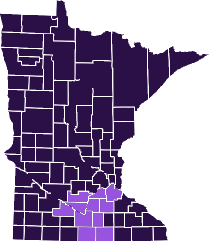 Purple Minnesota County map with the counties of Blue Earth, Brown, Dakota, Faribault, Freeborn, Le Sueur, Nicollet, Rice, Scott, Sibley, and Waseca highlight in light lavendar to showcase ASC's service area